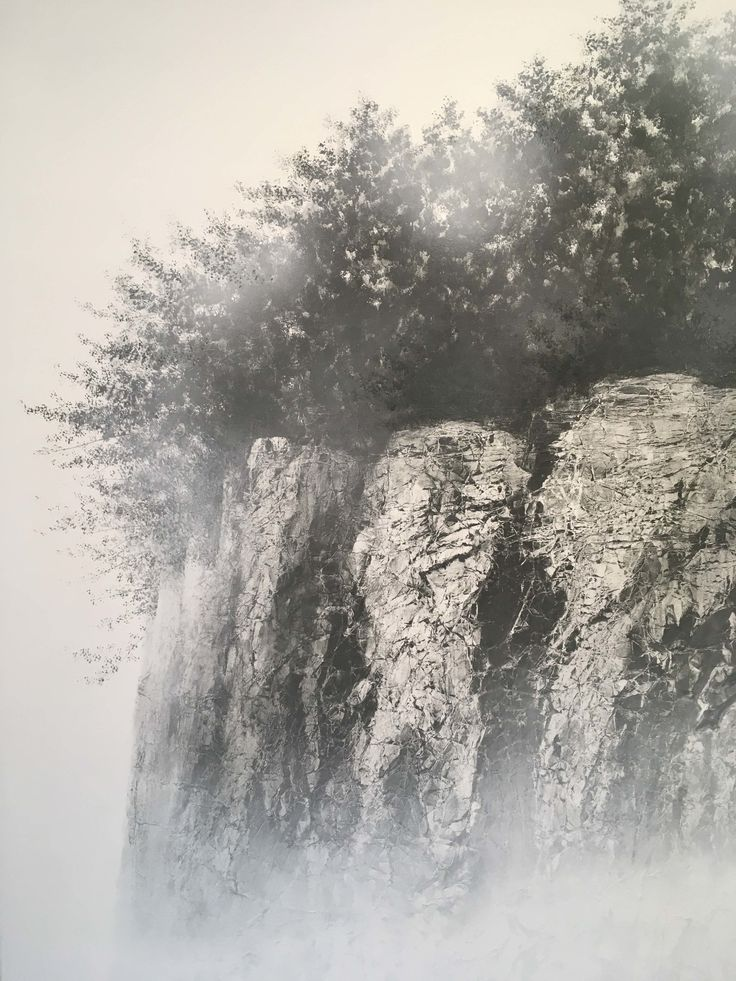 Sublime images of cliff faces by Japanese artist Hiroshi Senju (as seen in detail here) begin as mulberry washi paper, sourced from a specialist paper maker who can only make the paper in winter. After creating texture by hand-rumpling the large paper sheets, Senju uses handmade brushes and natural and synthetic pigments to render the natural world as apparition. (On view at Sundaram Tagore Gallery in Chelsea through Jan 13th). Hiroshi Senju, detail of At World's End #11, acrylic and natural…