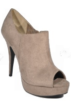 Poll in taupe suede by Sugar Sugar. High heel shoe boot $69.95 and free shipping