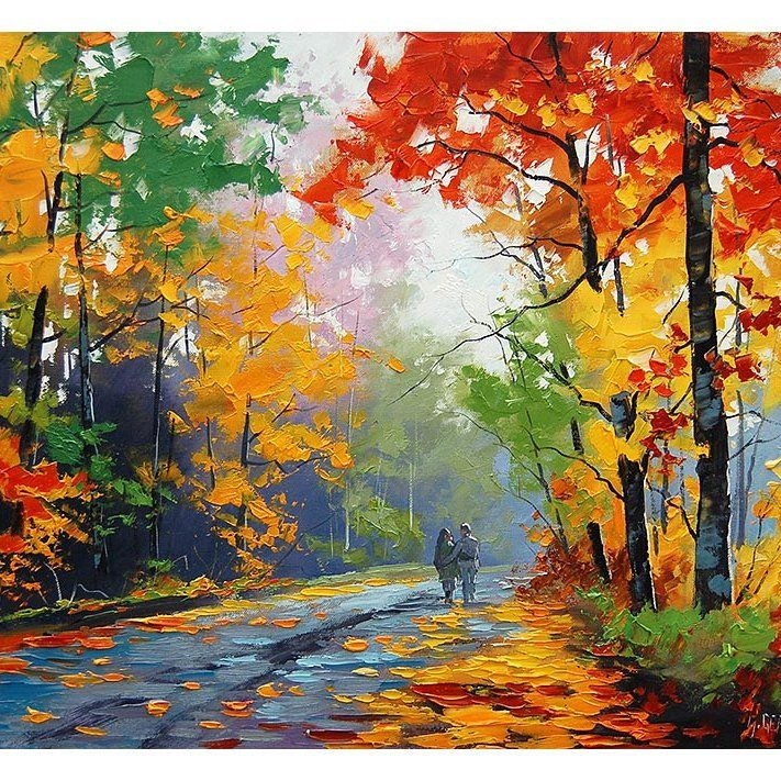 Realistic Oil Painting Fall Trees Impressionism Misty Road