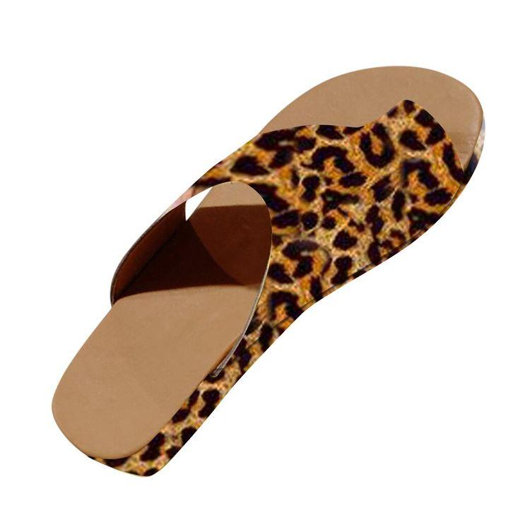Women Slippers Summer Leopard Slippers Open Toe Platform Casual Shoes Ladies Outdoor Beach Fl…