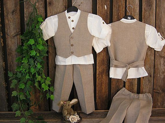 Toddler Ring Bearer Outfits | Boys linen suit. Rustic ring bearer outfit. Toddler boy formal wear ...