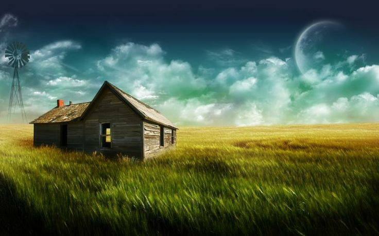 Free HD Wallpapers for your computer: House in a field