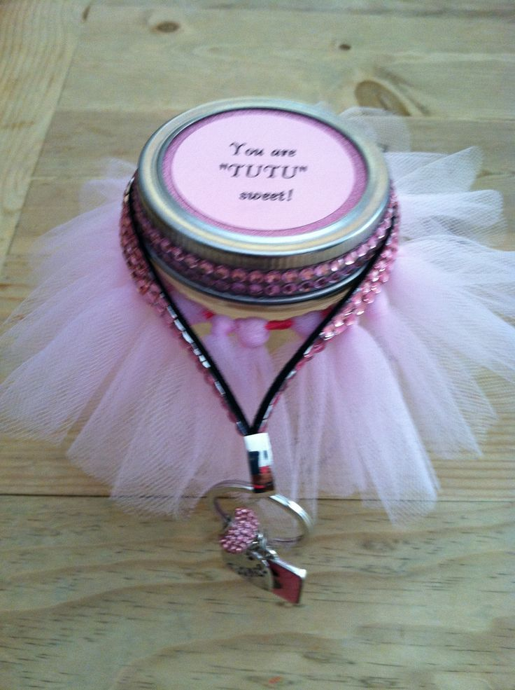 Ballet teacher gift! Filling jar with pink candy! Key chain with ballet charms and teacher initial!