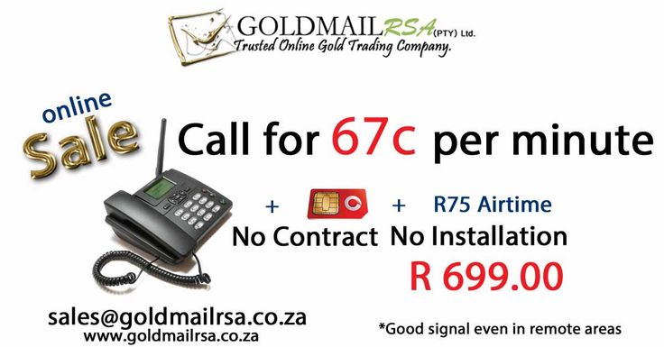 Huawei Portable Phone (Vodacom). Portable Rechargeable Phone * No Contract * No Installation required * Phone ready for immediate use. * 67c per minute calling (Vodacom : to all networks) * Perfect for office, home or mobile office use. * Battery lasts up to 3 days. * Excellent signal even in remote areas