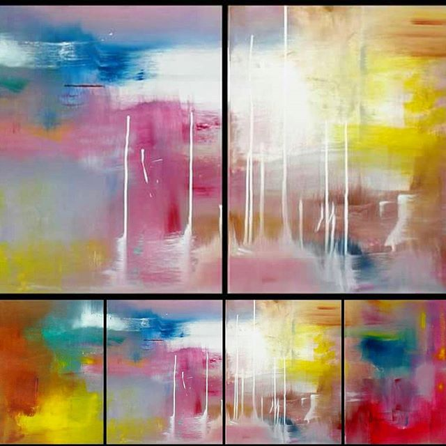 Detail and full view of a 4-piece I created and sold in 2008. Custom orders always  welcome! ▪▪▪ #abstractart #painting #artofsej #artiststudio #australianartist #australianart #colorfulart #contemporaryart #onpoint #vibrantart #instaartist #instaart #interiordesign #decor #canvaspainting #originalart #canvasart # 4-piece #commission #customade #artforsale #artoftheday # artist #selfrepresentingartists #buyart #ipswichart #queensland #flaming_abstracts  #Queenslandartist  #abstractpainting…