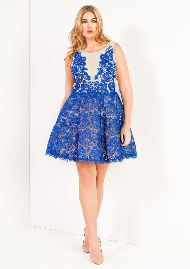 Formal or Bridesmaids Gown: Olive - Blue Lace Skater Dress: This Sax Blue skater dress from Forever Unique is lace applique and has a Nude Pink mesh body and keyhole detail at the back. The dress is fully lined and has a zip fastening.   SIZES: 16-22.
