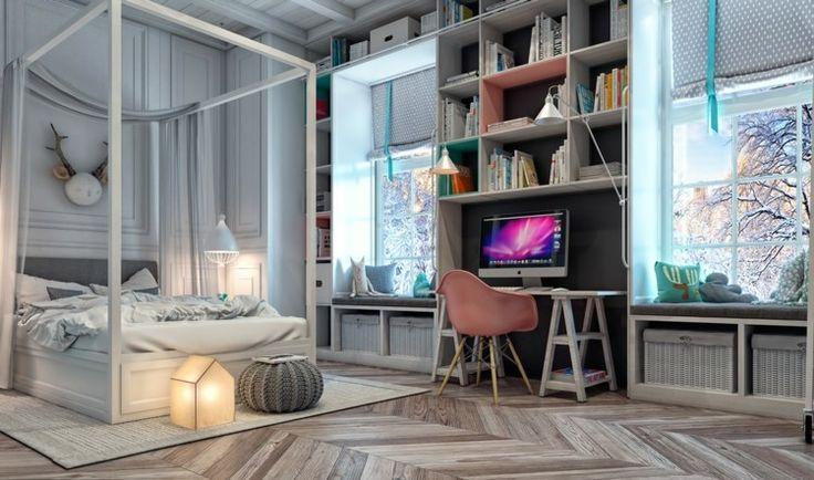 Moderne Jugendzimmer - Zwischen den Fenstern befindet sich der Schreibtisch mit Regalen