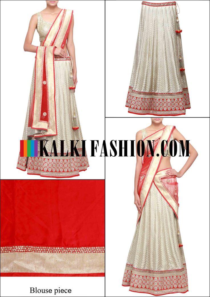 Get this beautiful lehenga here: http://www.kalkifashion.com/sand-white-lehenga-adorn-in-zari-only-on-kalki.html Free shipping worldwide.
