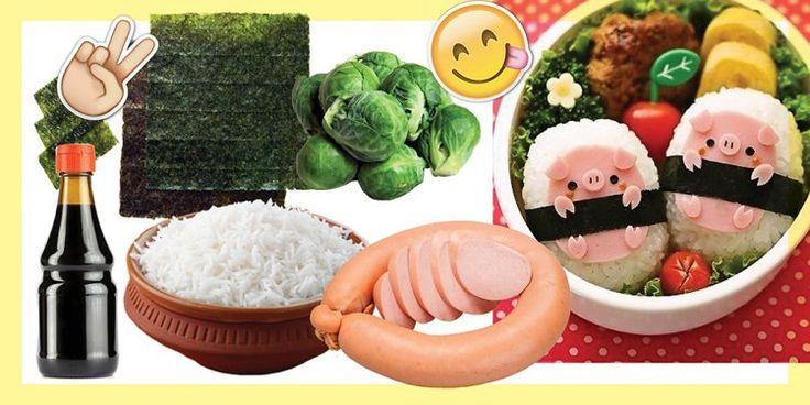 БЕНТО 2  Тебе понадобится:  сваренный по японской технологии рис для суши. соевый соус. котлета. водоросли нори. цветная или брюссельская капуста. отварная колбаса. помидоры черри. небольшой кусочек омлета. Сделай 2 небольшие лепешки из риса, вырежи кружочки для того, чтобы сложить поросят. Используй для украшения нори.  Выложи то, что получилось на цветную капусту, укрась омлетом и помидоры черри.