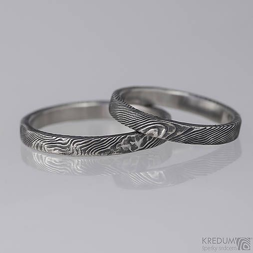 Snubní prsten nerezová ocel damasteel - Natura