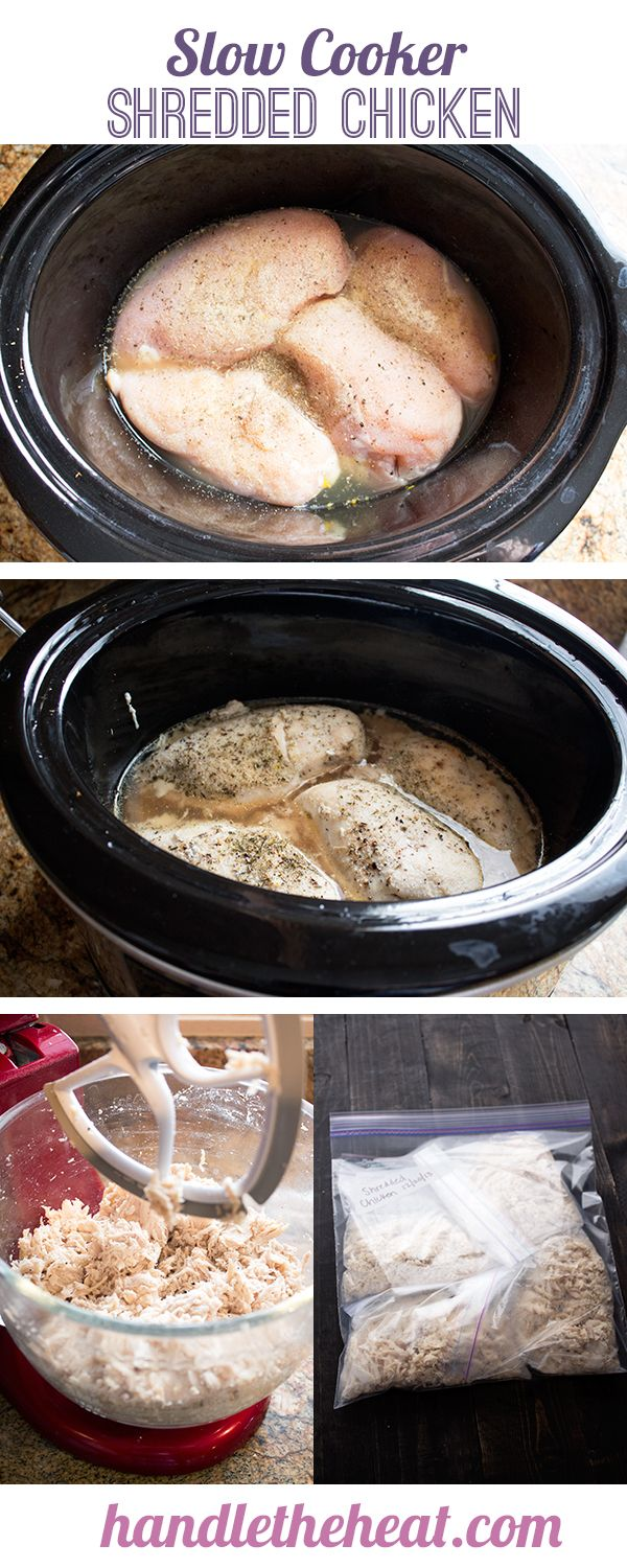 Slow Cooker Shredded Chicken - simple staple recipe! The chicken can be shredded with a mixer then portioned and frozen for later use.