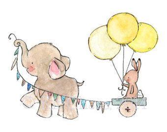Children's Art Elephant Bubbles Art Print por trafalgarssquare
