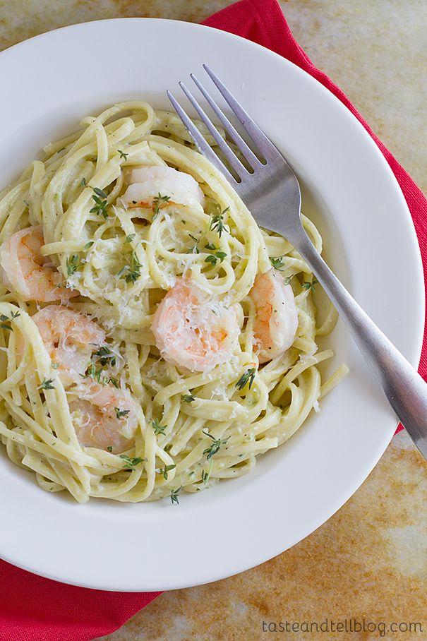 Poblano Cream Pasta with Shrimp   Taste and Tell
