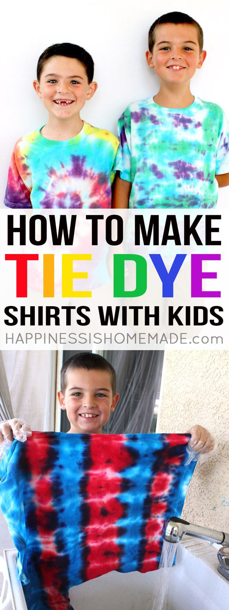 Making tie dye shirts is not as messy as it sounds! Learn how to tie dye with kids + a bunch of great tips, tricks, and tie dye patterns and instructions! via @hiHomemadeBlog