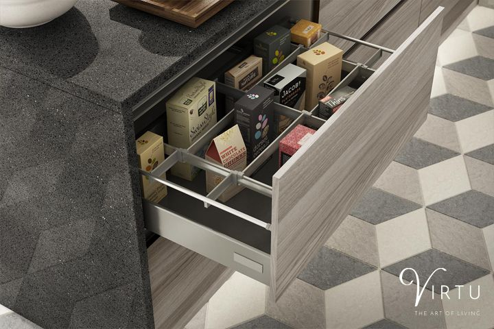 Clever kitchen storage - Jar & Packet Organisers make sure you have everything to hand in your Dura Stone Ash handleless drawer. #TheArtOfLiving #VirtuKitchens