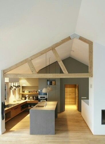 Contemporary vaulted kitchen