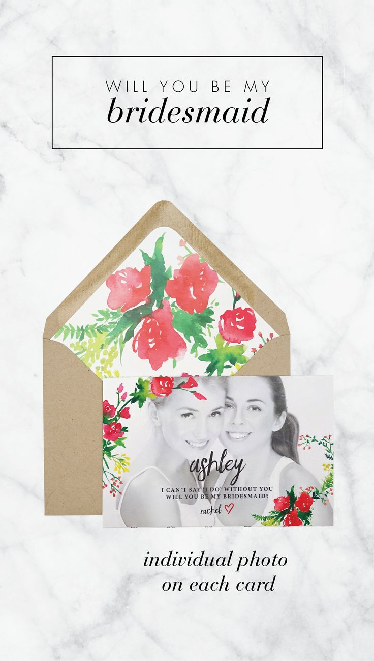 Each card is one-of-a-kind. Personalized with an individual photo bridesmaid card.