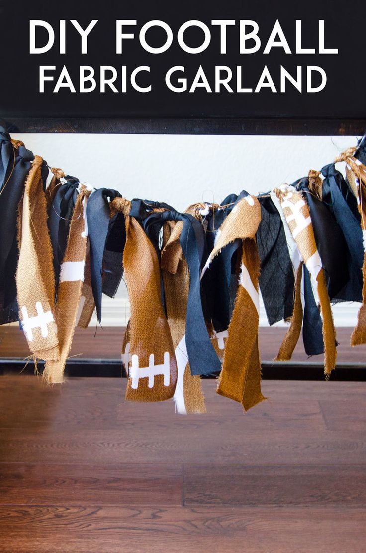 College football season is here! It's time to throw football viewing parties, complete with football party decorations. @lovetheday shares the step-by-step for her DIY football fabric garland on our blog.