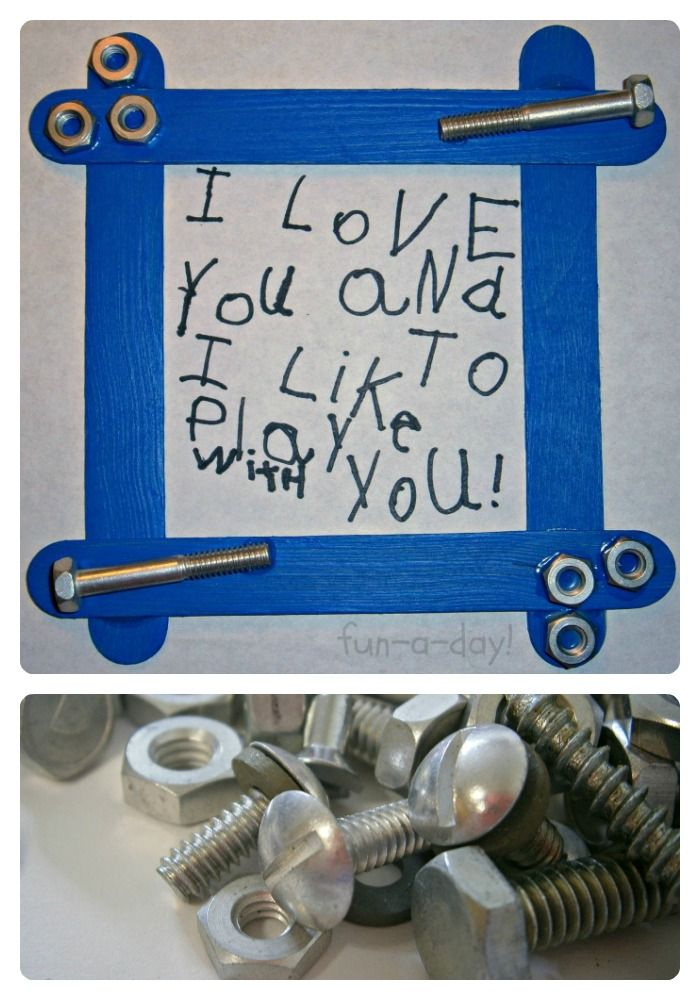 Cute Nuts & Bolts Frame Kids Craft for Fathers Day