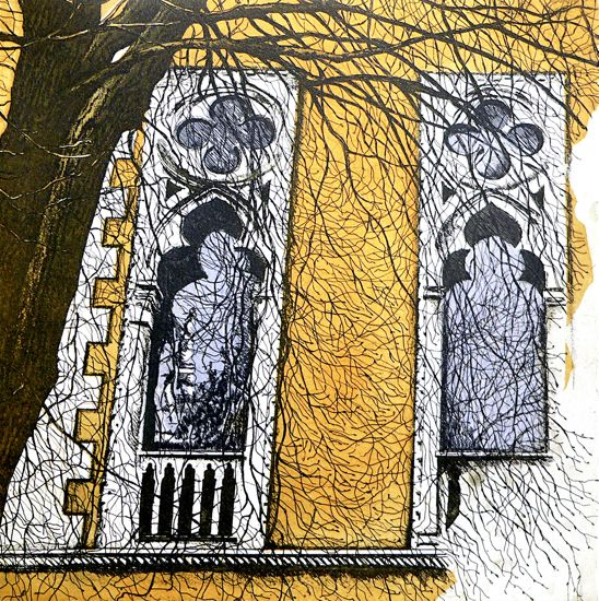 Science Building etching Artist Sandi Rigby