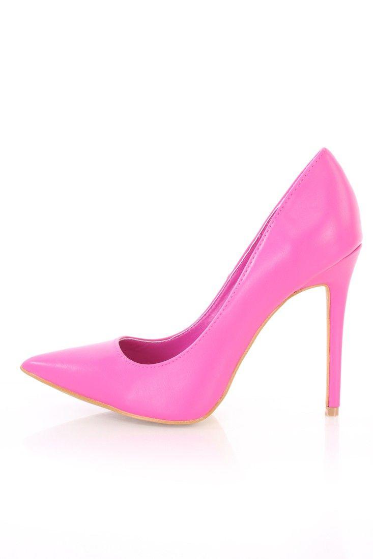 Fuchsia Single Sole Pump High Heels Faux Leather