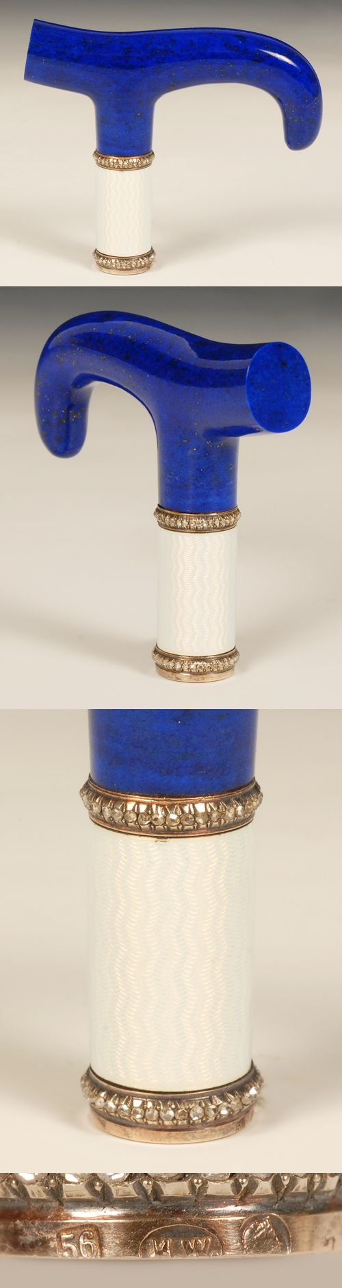 A Faberge jeweled gold mounted and guilloche enamel lapis lazuli parasol handle, workmaster Henrik Wigstrom, St. Petersburg, circa 1908-1917. Of tau form, the mounted collar enameled in translucent white over wavy engine turned ground, between rose-cut diamond borders