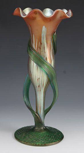 :Loetz  - iridescent glass vase in pink/red Medici decor  Country of Manufacture - Austria Date - c.1900: