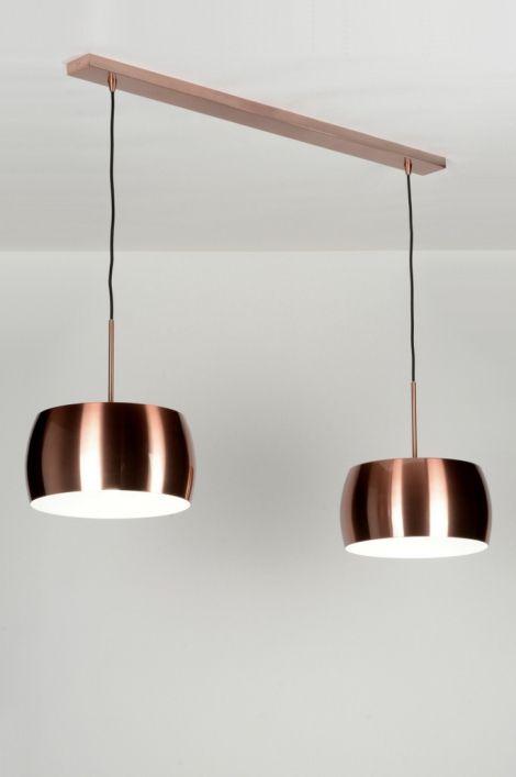 Hanglamp 72041 modern eigentijds klassiek design industrie look koper roodkoper aluminium rond langwerpig