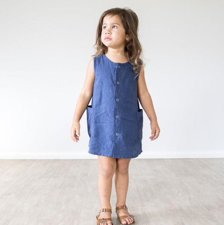 swell & solis Navy Linen Promenade A-line Dress