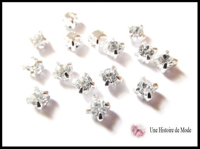 15 petits strass sertis couleur cristal blanc 4 mm / strass à coudre