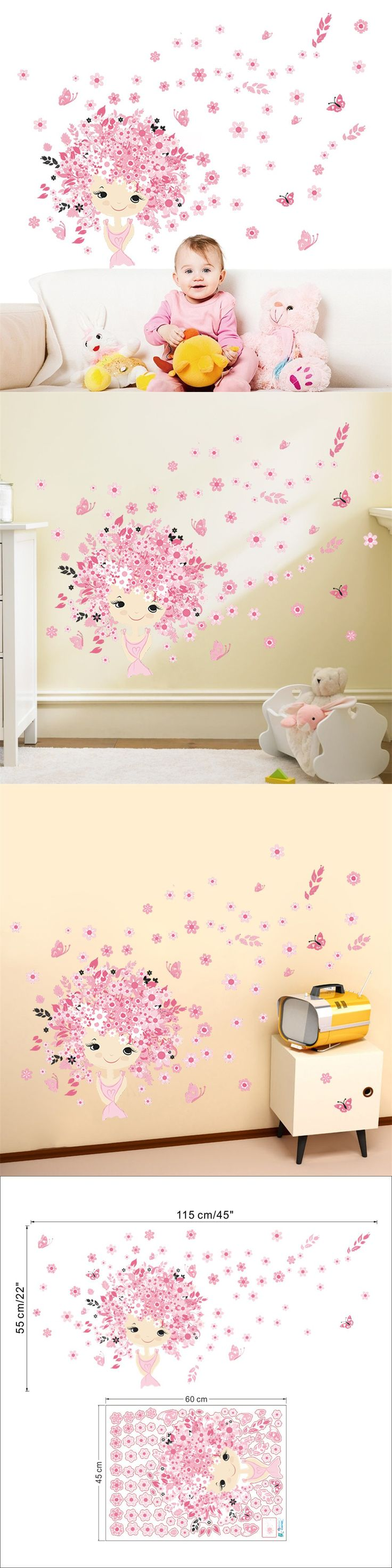 best 25 bedroom wall stickers ideas only on pinterest wall colorful flower flower fairy pink cute baby girl mermaid butterfly wall sticker home decor living room bedroom wall art gifts