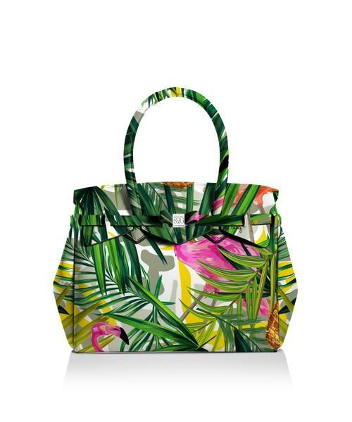Our iconic tote just got bigger! The Miss 3/4 is the roomier version of our iconic tote. Perfect for women who never have enough room! Light, versatile and available in 30 colours.  Size  395 x 340 x 190 mm  510g  Made in Italy  Vegan Friendly  Made from Poly-Lycra Fabric   Tropical  https://savemybag.com.au/collections/bags/products/miss-3-4-tropical