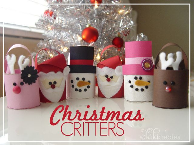 tutorial: christmas treat bucket critters (so cute!)  Sight also contains buckets for Halloween and Christmas