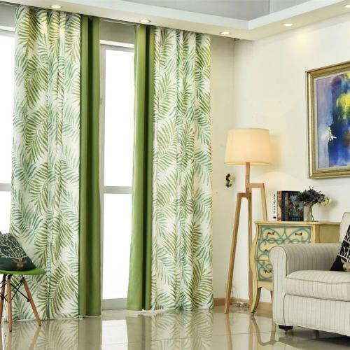 Tropical Fern Tree Leaf Green Eyelet Curtain optional Sheer Curtain / Tie-back