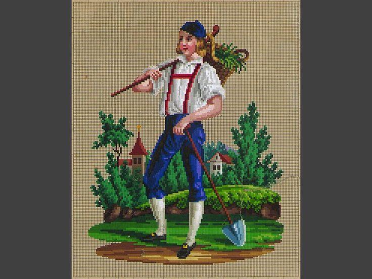 Mönster. För korssöm, tryckt och handkolorerat. Landskap med trädgårdsmästare i grönt, brunt, blått, vitt, svart och rött