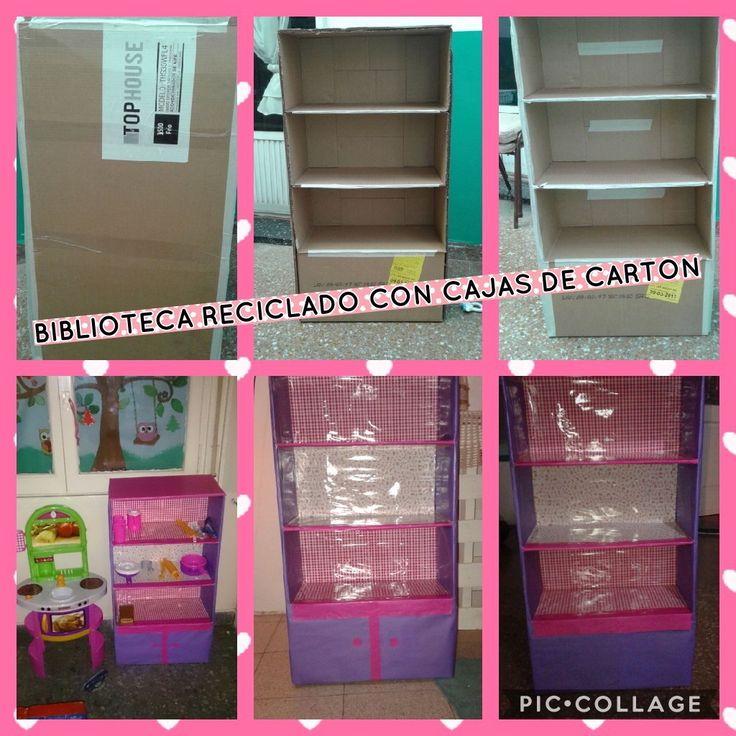 Reciclado caja de aire acondicionado en biblioteca toda realizada con cartones