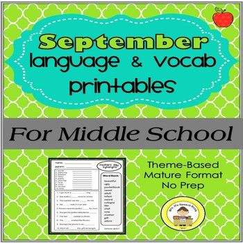 Are you looking for a middle school vocabulary program that is age appropriate and instantly applicable? This program addresses synonyms, antonyms, multiple meanings, past tense, pronouns, analogies and noun-verb agreement through theme based seasonal vocabulary.