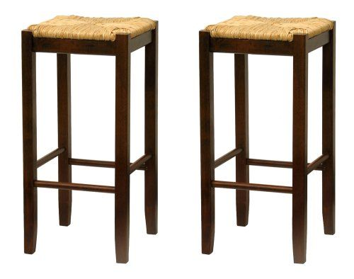 Bar Stool 29 Inch Rush Seat Walnut Finish Set Of 2 Winsome Wood