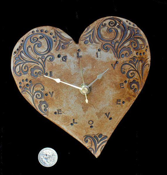 GIVE LOVE Heart Clock by Eekazookie on Etsy, $35.00