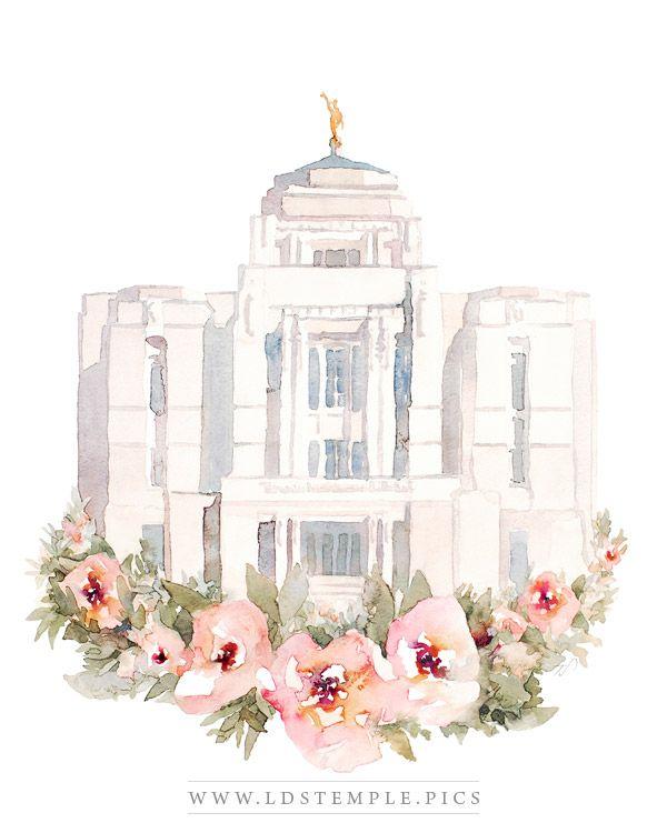 Meridian Temple Watercolor Painting Lds Temple Pictures Temple