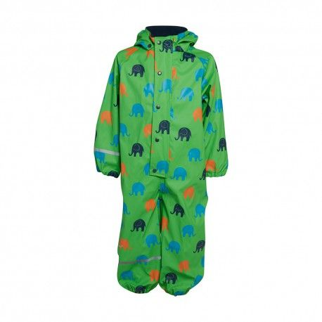 Rainsuit One piece without lining, green with elephants, Celavi