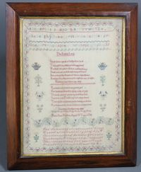 Lot No 328 A Victorian stitch work sampler with alphabet and poem by Mary Ann Kitchen, aged 10 years, contained in a rosewood frame, sold £160