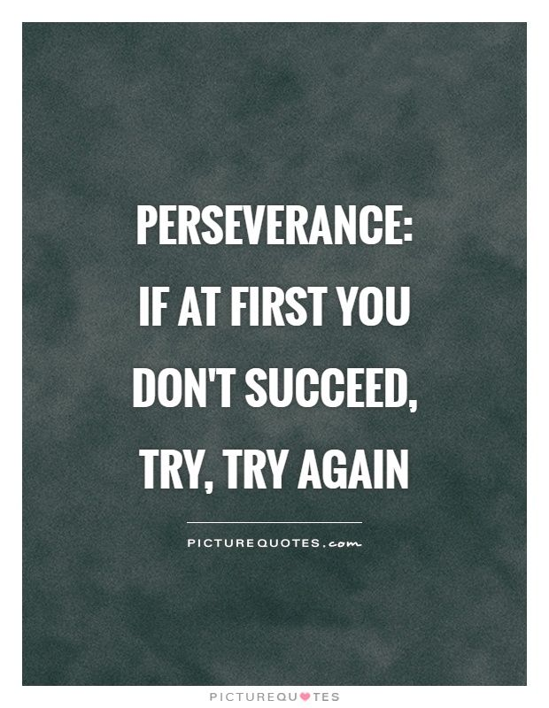 Perseverance:  if at first you don't succeed, try, try again. Never give up quotes on PictureQuotes.com.