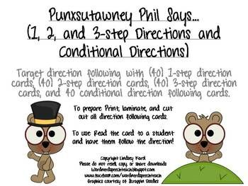 punxsutawney phil says 1 2 3 step and conditional directions auditory processing therapy. Black Bedroom Furniture Sets. Home Design Ideas