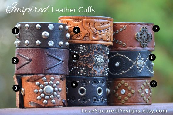 Upcycled Leather cuff Love Squared Designs by LoveSquaredDesigns, $25.00