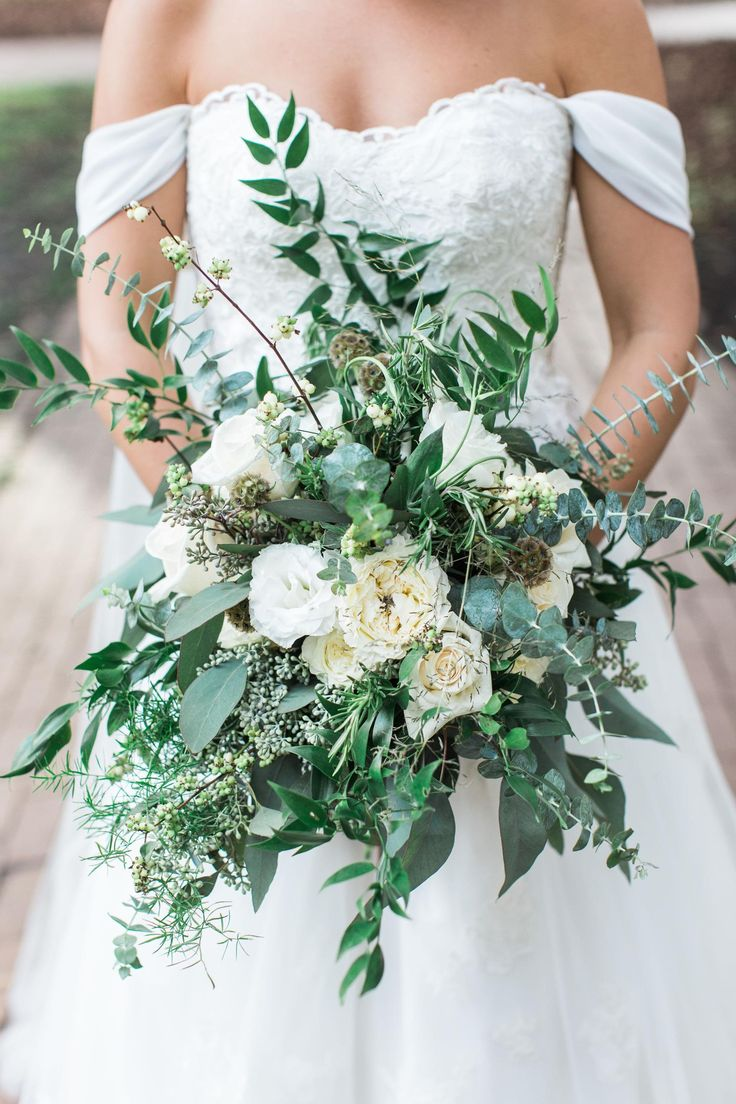 Leafy bridal bouquet, white roses, scabiosa pods, vines, off-the-shoulder wedding dress // Apt. B Photography
