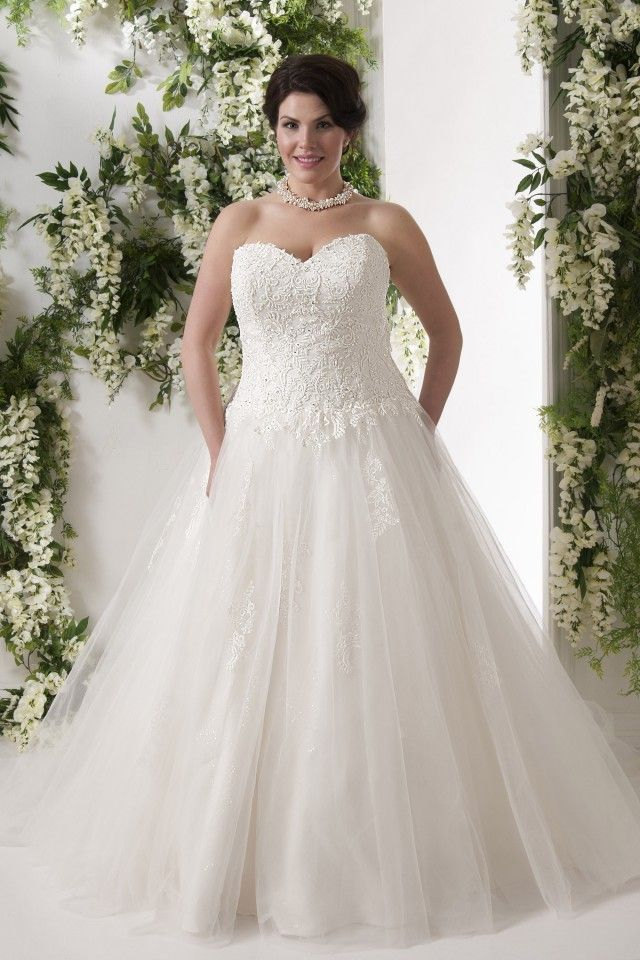 Cool Latest Amazing Amazing A line Chapel Train Sweetheart Tulle Fabric Plus Size Wedding Dresses with Applqiues Style UK Online sale