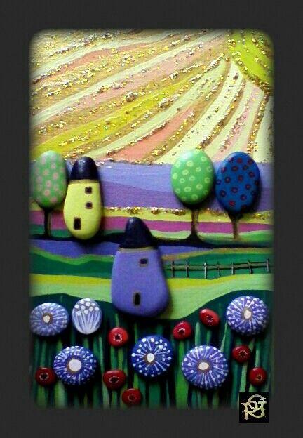 Paesaggio Naif- Painted Stones di Rosaria Gagliardi- Quel caldo sole