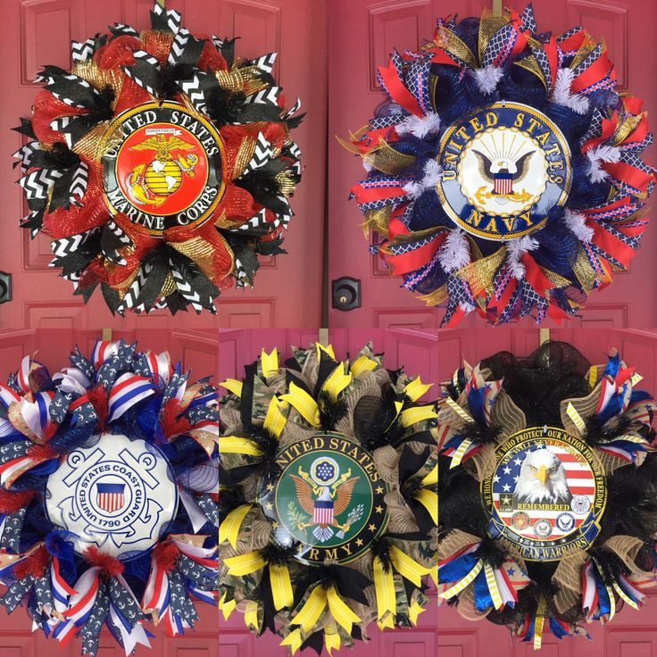 Custom Patriotic Wreaths, Military Decor, Armed Services Wreaths, US Navy, US Marines, US Coast Guard, US Air Force, US Army, Veterans' Wreath