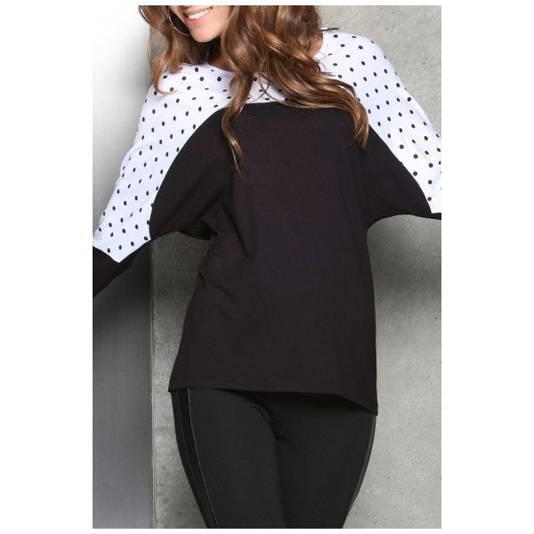 Batwing Sleeve Polka Dot Color Block Tee (22 BAM) via Polyvore featuring tops i t-shirts